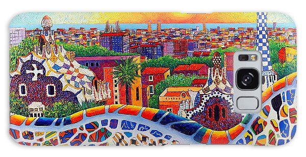 Barcelona Sunrise Colors From Park Guell Modern Impressionism Knife Oil Painting Ana Maria Edulescu Galaxy Case