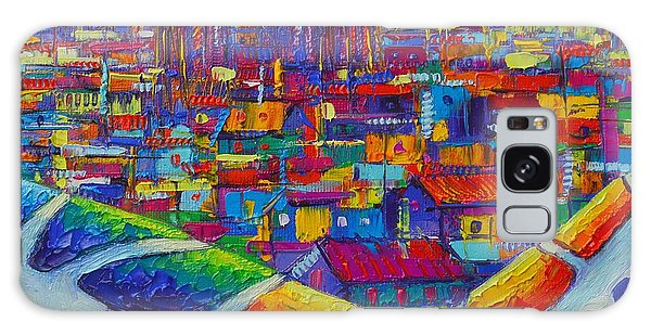 Barcelona View Sagrada From Park Guell Impressionist Abstract City Knife Painting Ana Maria Edulescu Galaxy Case