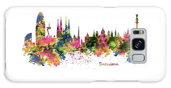 Barcelona Watercolor Skyline Galaxy Case by Marian Voicu