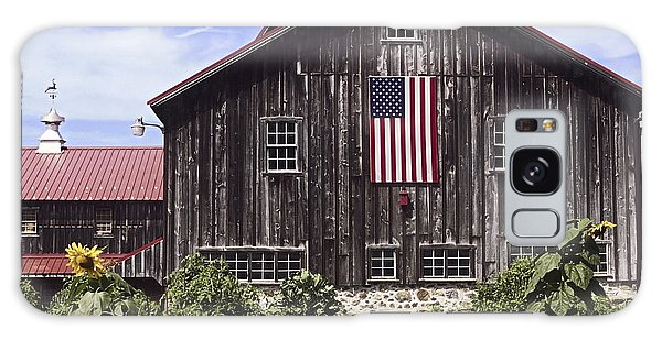 Barn And American Flag Galaxy Case by Sally Weigand