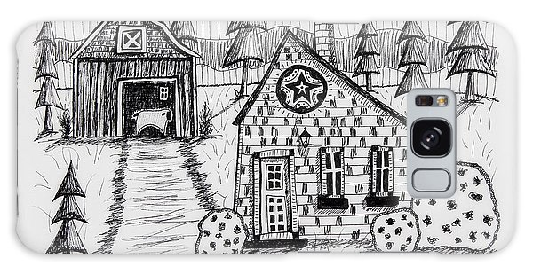 Pen And Ink Drawing Galaxy Case - Barn And Sheep by Karla Gerard