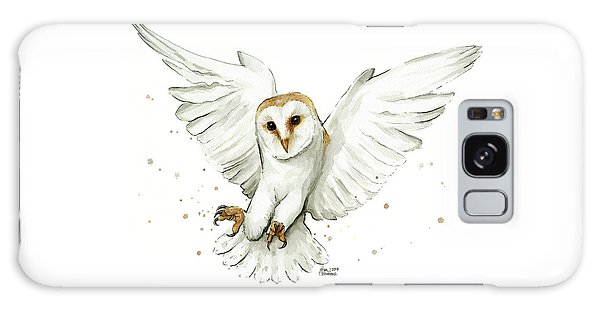 Bird Galaxy Case - Barn Owl Flying Watercolor by Olga Shvartsur