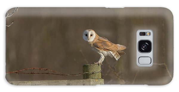 Barn Owl On Fence Galaxy Case
