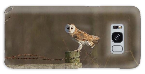 Barn Owl On Fence Galaxy Case