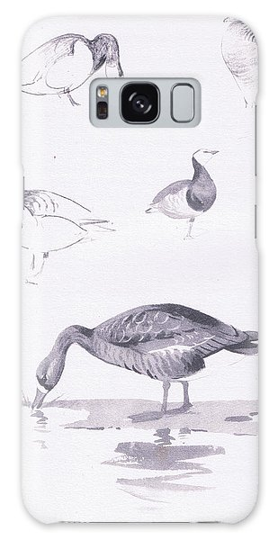 Barnacle And White Fronted Geese Galaxy Case