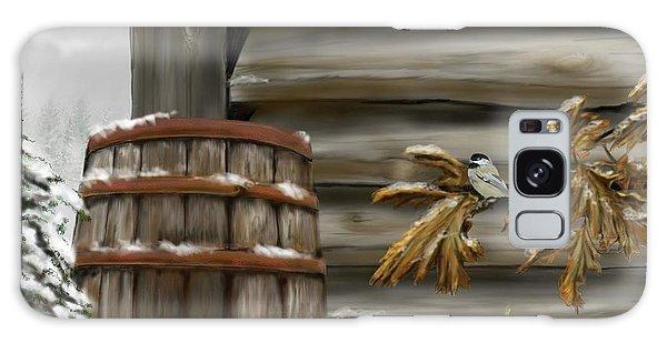 Galaxy Case featuring the digital art Barnyard Barrel And Chickadee by Darren Cannell