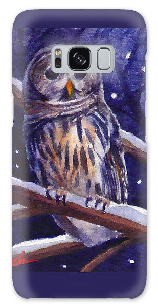 Barred Owl And Starry Sky Galaxy Case