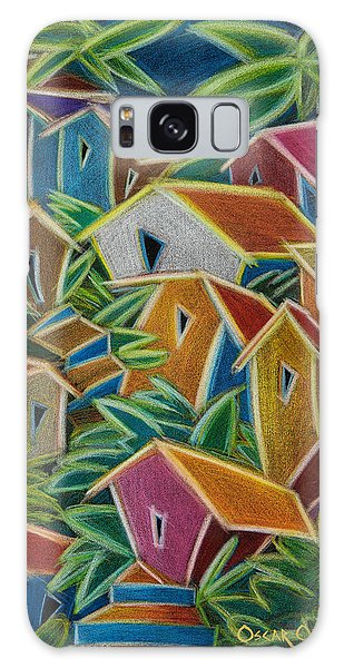 Galaxy Case featuring the painting Barrio Lindo by Oscar Ortiz