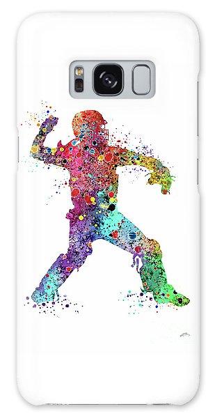 Softball Galaxy Case - Baseball Softball Catcher 3 Watercolor Print by Svetla Tancheva