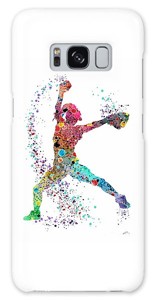 Softball Galaxy Case - Baseball Softball Pitcher Watercolor Print by Svetla Tancheva