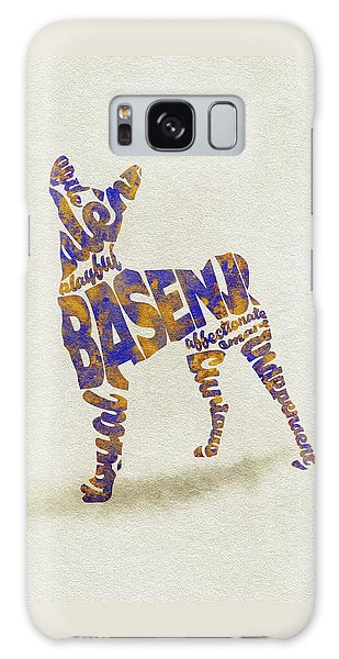 Galaxy Case featuring the painting Basenji Dog Watercolor Painting / Typographic Art by Inspirowl Design