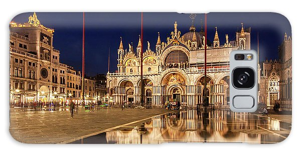 Galaxy Case featuring the photograph Basilica San Marco Reflections At Night - Venice, Italy by Barry O Carroll