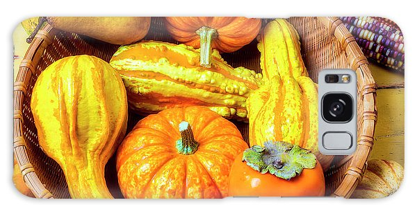 Indian Corn Galaxy Case - Basket Of Autumn Gourds And Fruits by Garry Gay