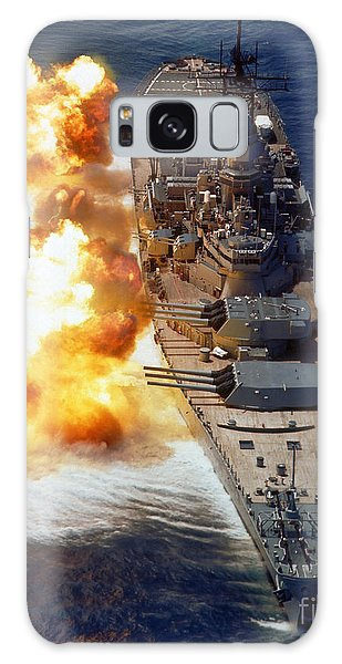 Galaxy Case featuring the photograph Battleship Uss Iowa Firing Its Mark 7 by Stocktrek Images