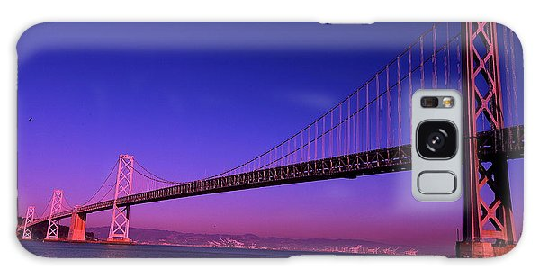 Bay Bridge Sunset Galaxy Case by Linda Edgecomb