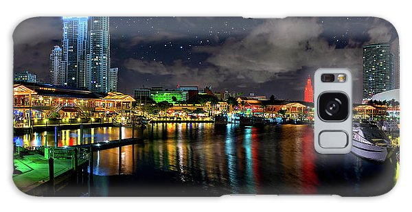 Bayside Miami Florida At Night Under The Stars Galaxy Case by Justin Kelefas