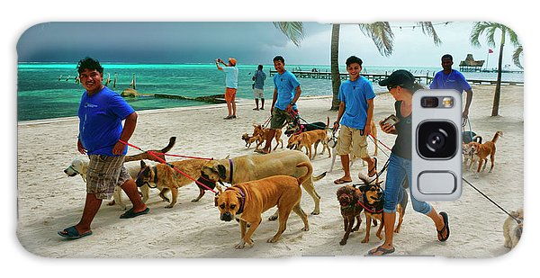 Beach Dog Walkers On Ambergris Caye, Belize Galaxy Case