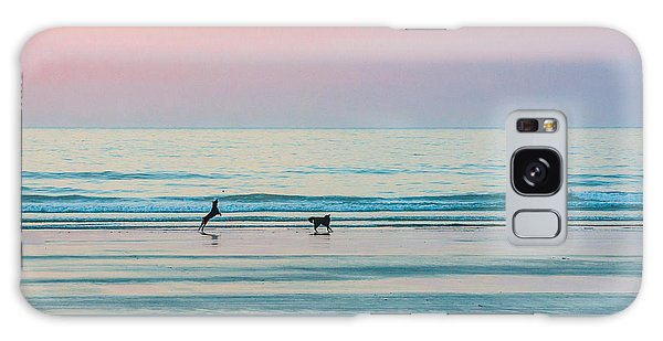 Beach Dogs Playing At Dawn Galaxy Case
