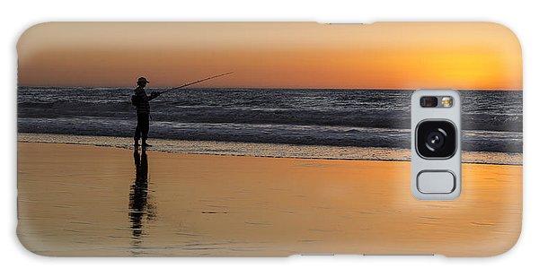 Beach Fishing At Sunset Galaxy Case