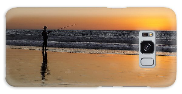 Beach Fishing At Sunset Galaxy Case by Ed Clark