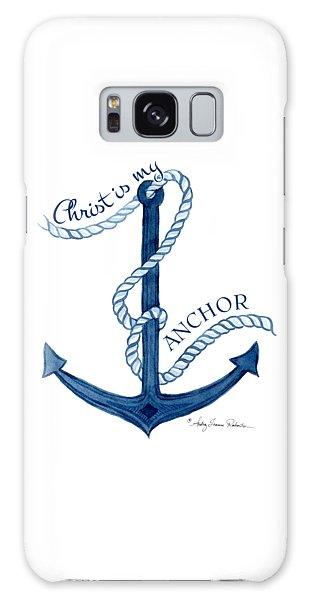 Beach House Nautical Ship Christ Is My Anchor Galaxy Case
