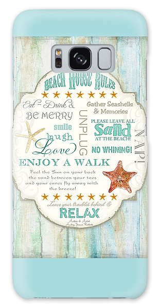 Beach House Rules - Refreshing Shore Typography Galaxy Case by Audrey Jeanne Roberts