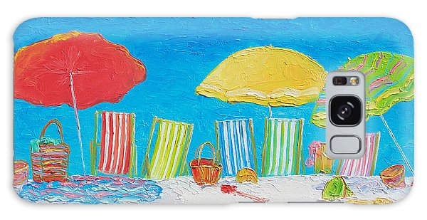 Beach Painting - Deck Chairs Galaxy Case