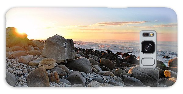 Beach Sunrise Over Rocks Galaxy Case