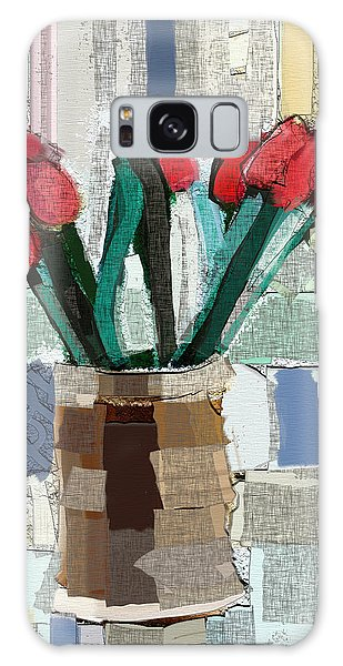 Beach Tulips Galaxy Case by Carrie Joy Byrnes
