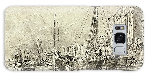 Bay Galaxy Case - Beached Fishing Boats With Fishermen Mending Nets On The Beach At Brighton, Looking West by John Constable