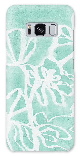 Cottage Galaxy Case - Beachglass And White Flowers 2- Art By Linda Woods by Linda Woods