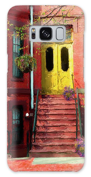 Beantown Brownstone With Yellow Doors Galaxy Case