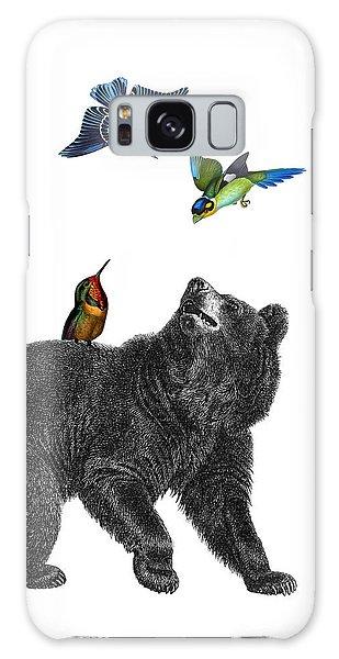 Hummingbird Galaxy S8 Case - Bear With Birds Antique Illustration by Madame Memento