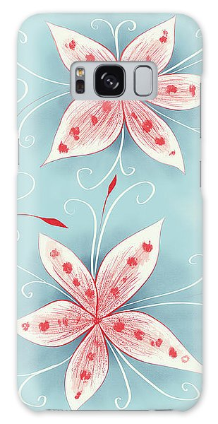 Beautiful Abstract White Red Flowers Galaxy Case