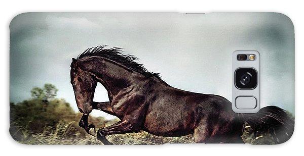 Beautiful Black Stallion Horse Running On The Stormy Sky Galaxy Case