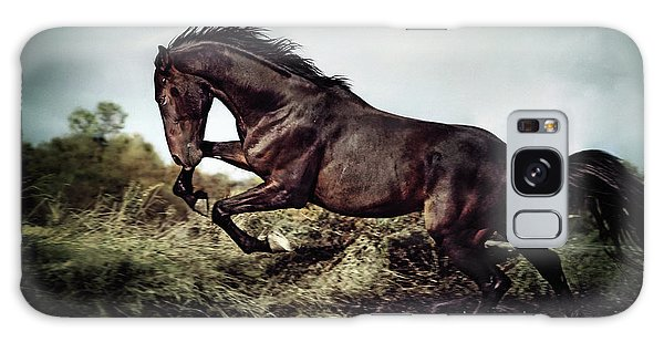 Beautiful Black Stallion Horse Running On The Stormy Sky Galaxy Case
