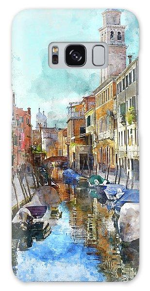 Beautiful Boats In Venice, Italy Galaxy Case