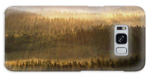 Beautiful Foggy Forest During Autumn Sunrise, Saxon Switzerland, Germany Galaxy Case