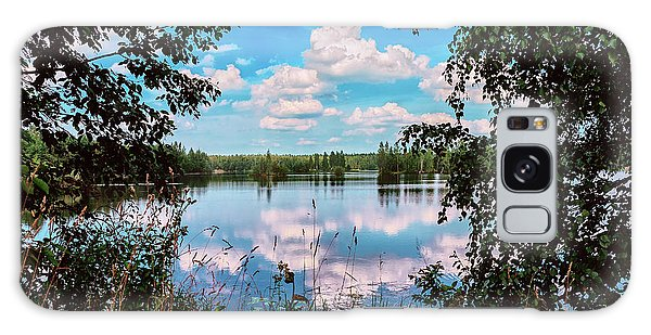 beautiful forest lake in Sunny summer day Galaxy Case