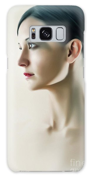 Galaxy Case featuring the photograph Beautiful Model Highkey Fashion Studio Portrait by Dimitar Hristov
