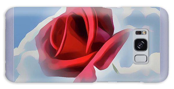 Beautiful Red Rose Cuddled By Cumulus Galaxy Case