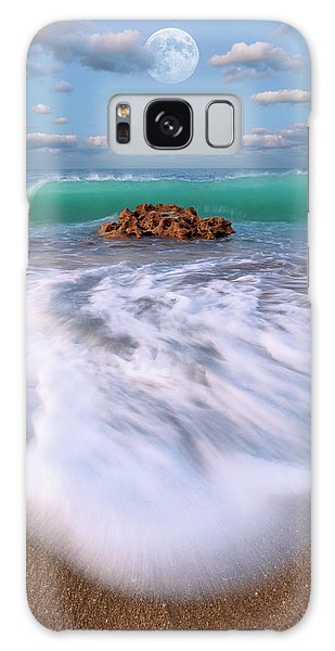 Beautiful Waves Under Full Moon At Coral Cove Beach In Jupiter, Florida Galaxy Case by Justin Kelefas