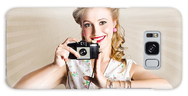 Amateur Galaxy Case - Beautiful Woman Photographer Holding Retro Camera by Jorgo Photography - Wall Art Gallery