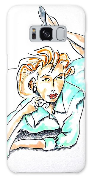 Beautiful Woman, Reclining -- Portrait Of Woman On Floor Galaxy Case