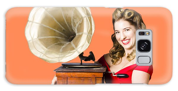 Vivacious Galaxy Case - Beautiful Woman With Gramophone Isolated On White by Jorgo Photography - Wall Art Gallery