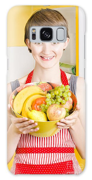 Vivacious Galaxy Case - Beautiful Woman With Smile And Fresh Fruit Bowl by Jorgo Photography - Wall Art Gallery