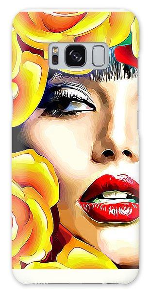 Beautiful Woman Yellow Roses Pop Art Galaxy Case
