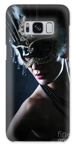 Galaxy Case featuring the photograph Beauty Model Wearing Venetian Masquerade Carnival Mask by Dimitar Hristov