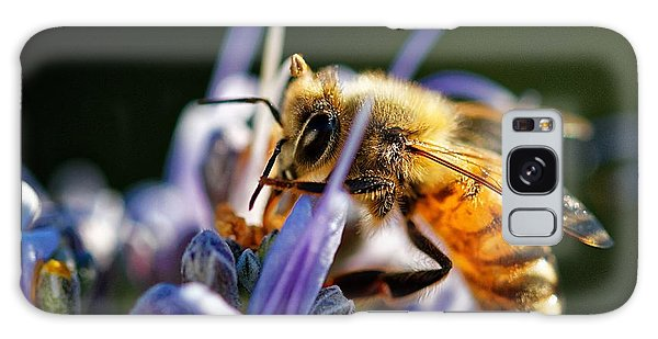 Bee Visits Rosemary  Galaxy Case
