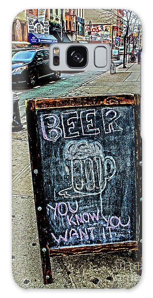 Beer Sign Galaxy Case by Sandy Moulder